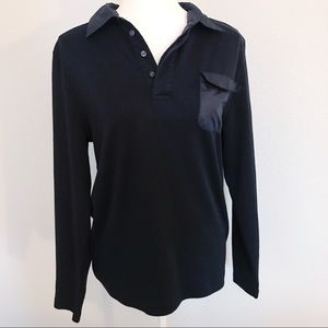 Theory black nylon contrast pocket long sleeve